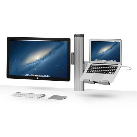 For the work-at-home professional, the MobilePro Desk Mount Combo is an eye-catching way to put a Cinema Display or iMac and a laptop, tablet, or second screen side by side.