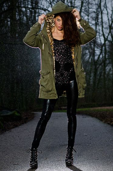 Zara Parka With Leopard Lining, Mangano Skull Top, Jeffrey Campbell Studded Boots