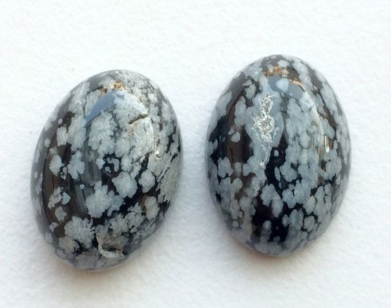 Snowflake Obsidian 2 Pc Matched Pair Snowflake by gemsforjewels