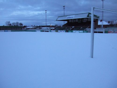 A few images to illustrate the extent of the snow covering at Croft Park this morning which caused the postponement of the Blyth Spartans v Gainsborough Trinity game this afternoon. Description from blythspartansafc.co.uk. I searched for this on bing.com/images