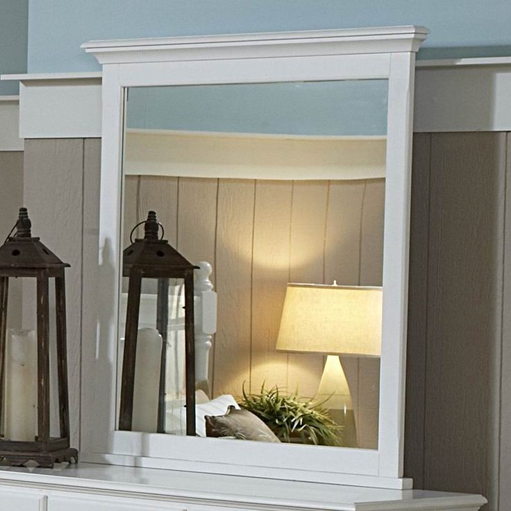 $244 Homelegance Morelle 35-in x 39-in White Polished Rectangle Framed Transitional Wall Mirror