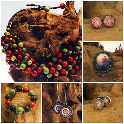 Manzuko, autumn, fal,l neclace, bracelet, earrings, ceramic beads, glass cabochon