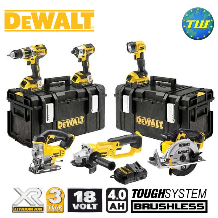 http://www.twwholesale.co.uk/product.php/section/10443/sn/DeWalt-DCK694M3-GB DeWalt's DCK694M3 Kit has 6x powerful high performance 18 volt cordless tools designed to deliver superior results. The kit contents includes 18V BRUSHLESS Combi Drill, BRUSHLESS Impact Driver, Circular Saw, 125mm Angle Grinder, Jigsaw, LED Torch, 3x 4.0Ah XR Li-ion batteries, charger plus 2x DS300 heavy duty TOUGHSYSTEM kit boxes.