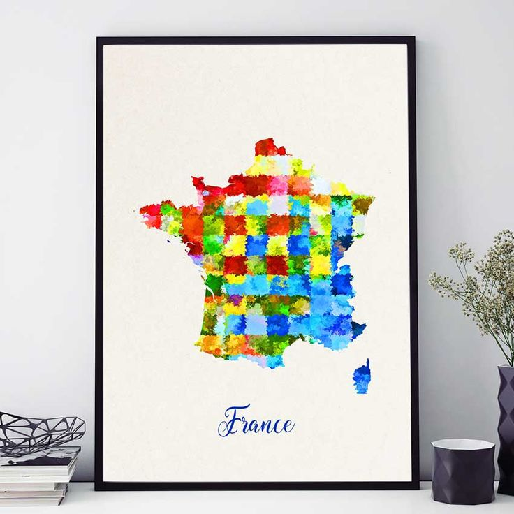 France Map Print, French Map Poster, France Wall Art, Watercolor Map Print, France Map Poster, French Home Decor (713) by PointDot on Etsy