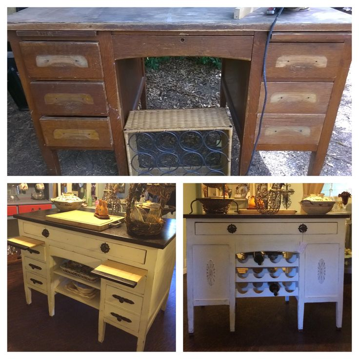 Kitchen Island Made From Old Desk: 1950's Teacher's Desk Made Into A Beautiful Kitchen Island