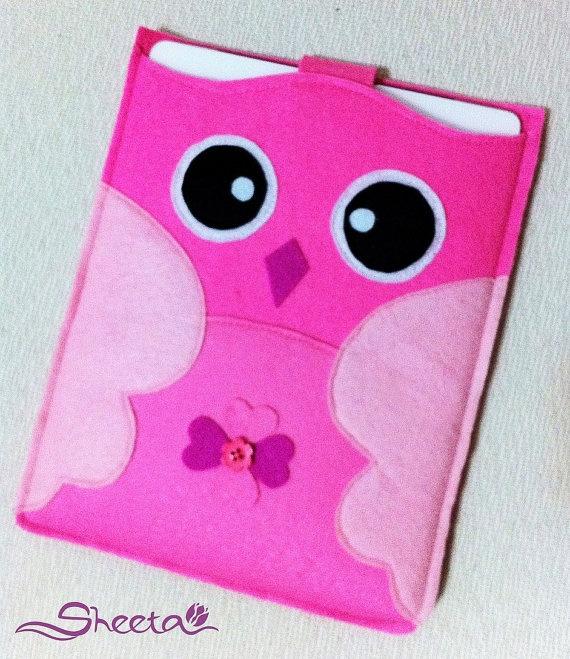 Cute Cute Pink Owl -100%Felt iPad case/ iPad purse/ iPad bag/ iPad cover/ iPad Sleeve/