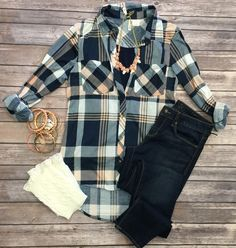 What I like about you Plaid Flannel top in peach can be worn as long sleeves or a 3/4 top. It is so very soft and comfy! This is a super soft stretchy awesome material!
