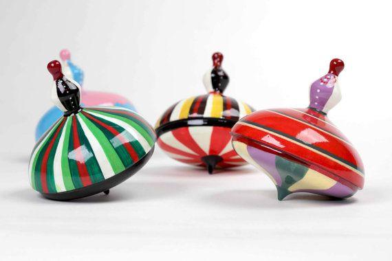 Wooden spinning top folk dancer. handmade by SmagaProjektanci