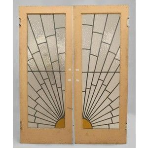 Art Deco Stained Glass Panels | Pair of French Art Deco leaded glass doors with sunburst design and pa ...