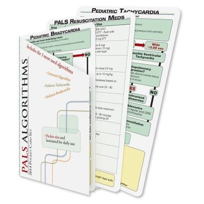 MDpocket Pediatric Advanced Life Support (PALS) pocket reference cards are ideal for quick review of the latest acute care pediatric algorithms. Included within the set of cards areUniversal PALS, Pediatric Bradycardia, and Pediatric Tachycardia algorithms;a PALS Resuscitation Medications list;and a Post-Resuscitation Cardiac Medications list. $8.95