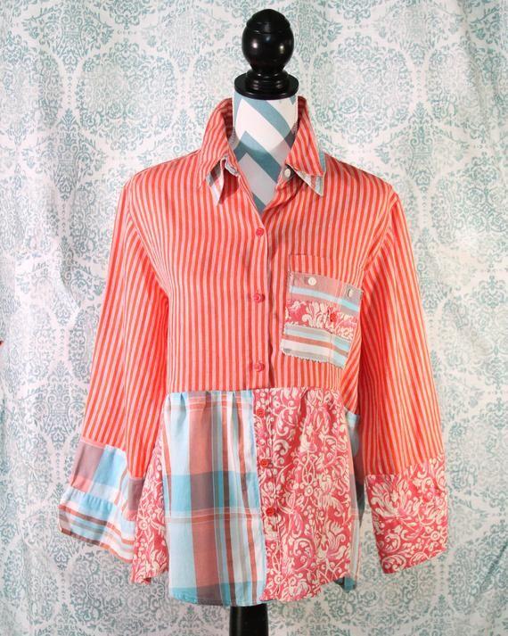 Frauen Upcycled Boho Shirt Shabby Chic Romantisch Funky Bohemian Junk Gypsy Klein Mittel Umweltfreundlich