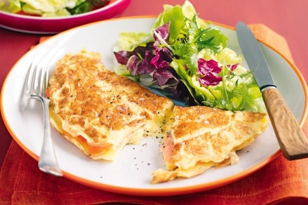 Smoked salmon and camembert are gourmet fillings for this simple weekday omelette.