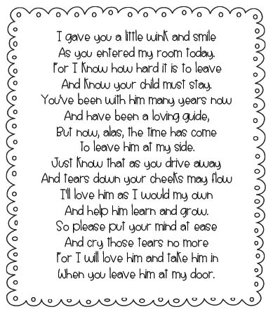 Free parent poem    This reminds me of Jess's first day of 1st grade . . . B.W. probably wished she had this note to give me . . . couldn't leave!