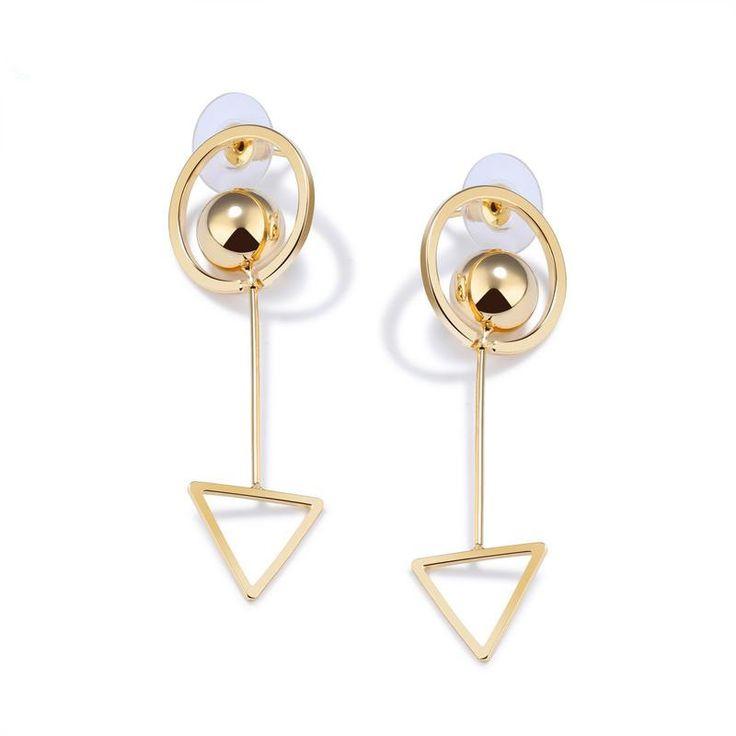 Simple Triangle Circle Drop Earrings Womens Gold Plated Copper Geometric Design Long Dangle Earrings Jewelry_BEBESAY.COM