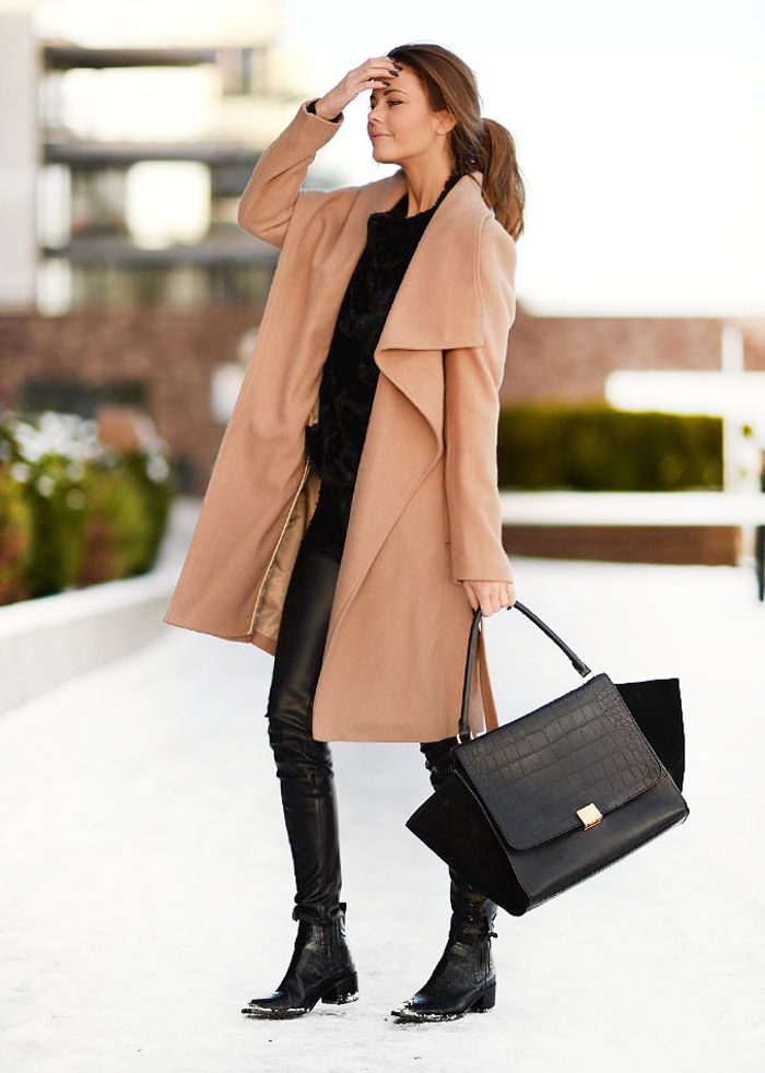 Seem to have a thing for camel coats this year … paired with all black. Like the casual style of...