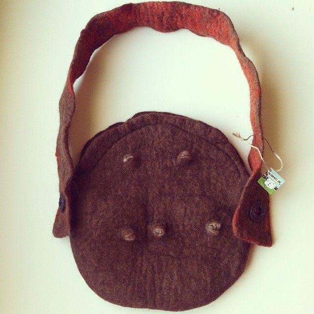 The felt bag of Pan Greek god. Shibori felt bag.