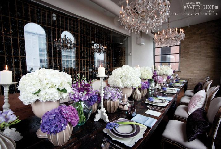 """Outstanding tablescape from our """"French Twist"""" editorial in SF2011 issue of WedLuxe. Produced by Visions of Platinum and Garnet, Decor by Design2Decor, floral by Petals, Stems & Leaves - photographed at Toronto's The Spoke Club"""