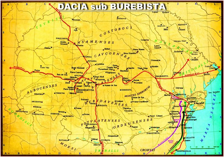 Dacia under king Burebista. • Burebista (Ancient Greek: Βυρεβίστας, Βοιρεβίστας) was a king of the Getae and Dacians, who unified their tribes for the first time and ruled them between 82 BC and 44 BC. He led plunder and conquest raids across Central and Southeastern Europe, subjugating most of the neighbouring tribes. After his assassination in a palace coup, the empire was divided into smaller states.