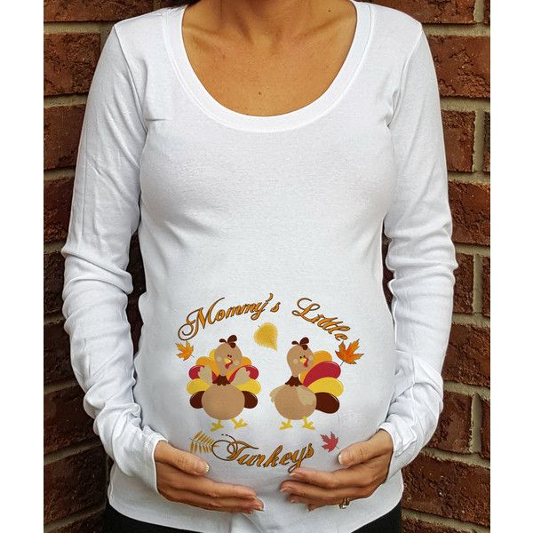 Mommy's Little Turkeys Twins Thanksgiving Maternity Shirt With Cute... ($27) ❤ liked on Polyvore featuring maternity, grey, tops en women's clothing