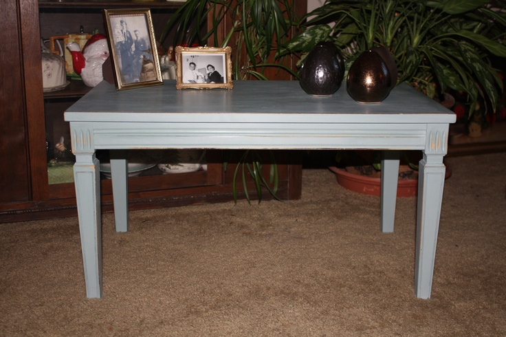 Another vintage side table first done in ASCP Arles then a coat of Duck Egg Blue.  I then distressed it to bring out both the original dark finish and the Arles.