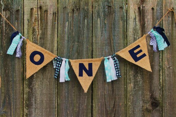 Burlap Banner for High Chair, First Birthday Banner 'ONE', custom ...