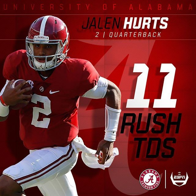 Jalen Hurts has already set the CAREER record for most Rush TD by an Alabama QB under Saban.  #Alabama #RollTide #Bama #BuiltByBama #RTR #CrimsonTide #RammerJammer