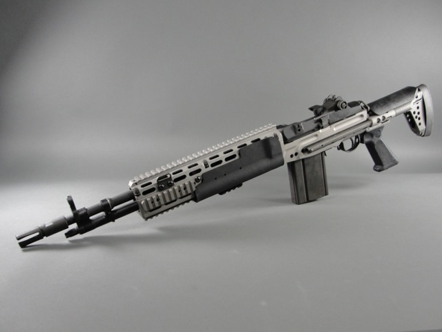 Springfield Armory M1A dropped into a rare SEAL grey Sage EBR chassis.  308win/7.62mm NATO