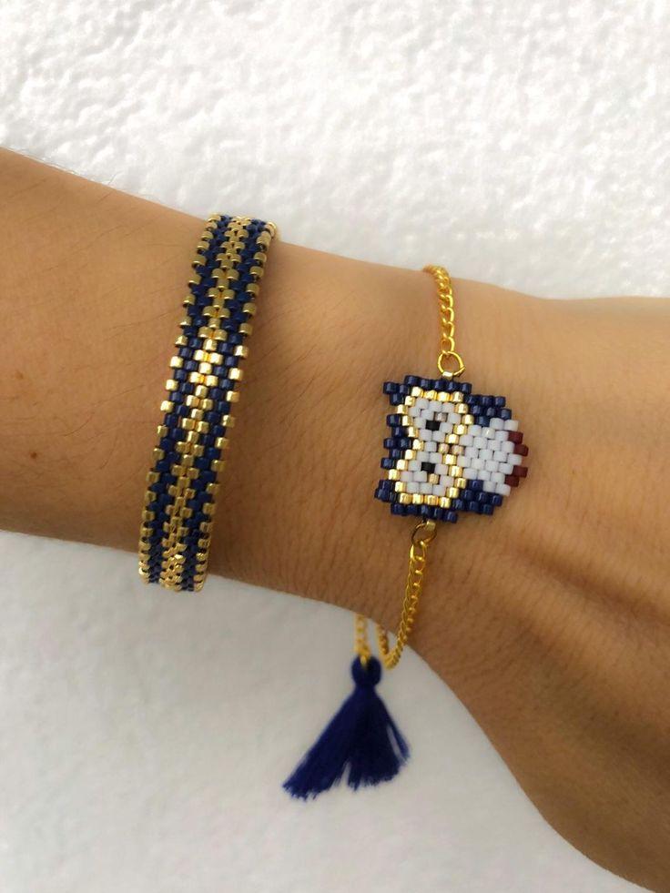 Miyuki beaded blue owl bracelet set, unique, stylish, chic bracelet for women, girls