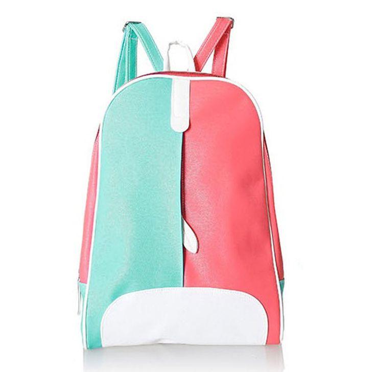 Double Colour Women Backpack with Hidden Zipper Detail
