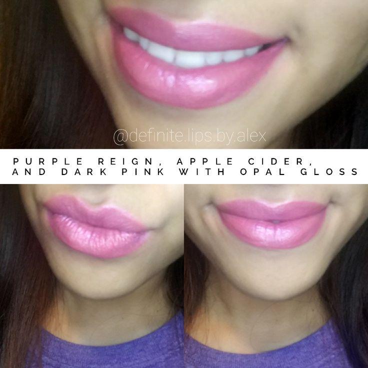 LipSense color combo! Purple reign, apple cider, dark pink and opal gloss!!