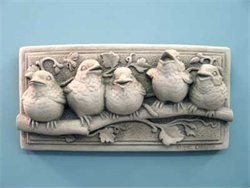 Baby Birds Plaque Hand Cast Stone (Aged Stone) by Carruth Studio. $44.00. This is the piece that really got things rolling for Carruth Studio. It appeared in many mail order catalogs and thousands of craft galleries from coast to coast. The five sculpted baby birds make a charming addition to any patio, deck or sun room. Notice each bird's personality and how contented they appear sitting close together on the tree branch. A great gift for bird watchers and gardeners. C...
