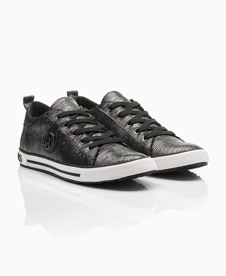Armani Jeans - Glitter Suede Lo Trainers - Gunmetal - Shoes & Trainers - Womens
