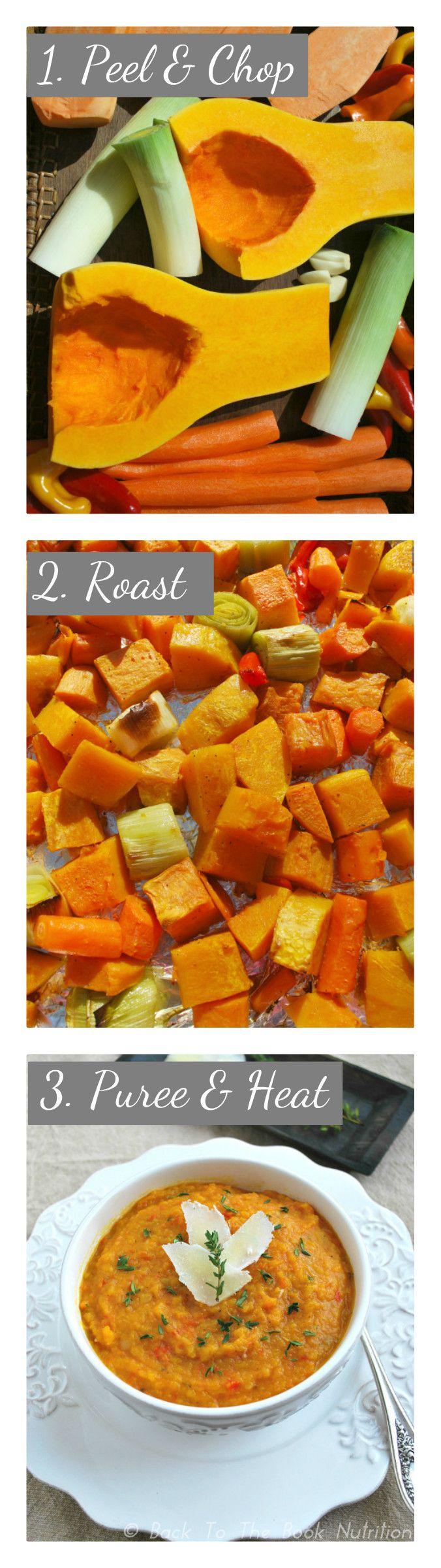 Roasted Winter Vegetable Soup in 3 easy steps {gluten, grain & dairy free} - www.backtothebooknutrition.com/blog