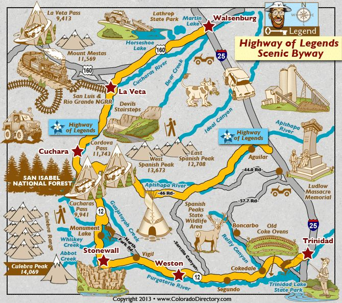 Colorado Highway Map of Legends | Highway of Legends Scenic Byway near Cuchara, La Veta, Stonewall ...