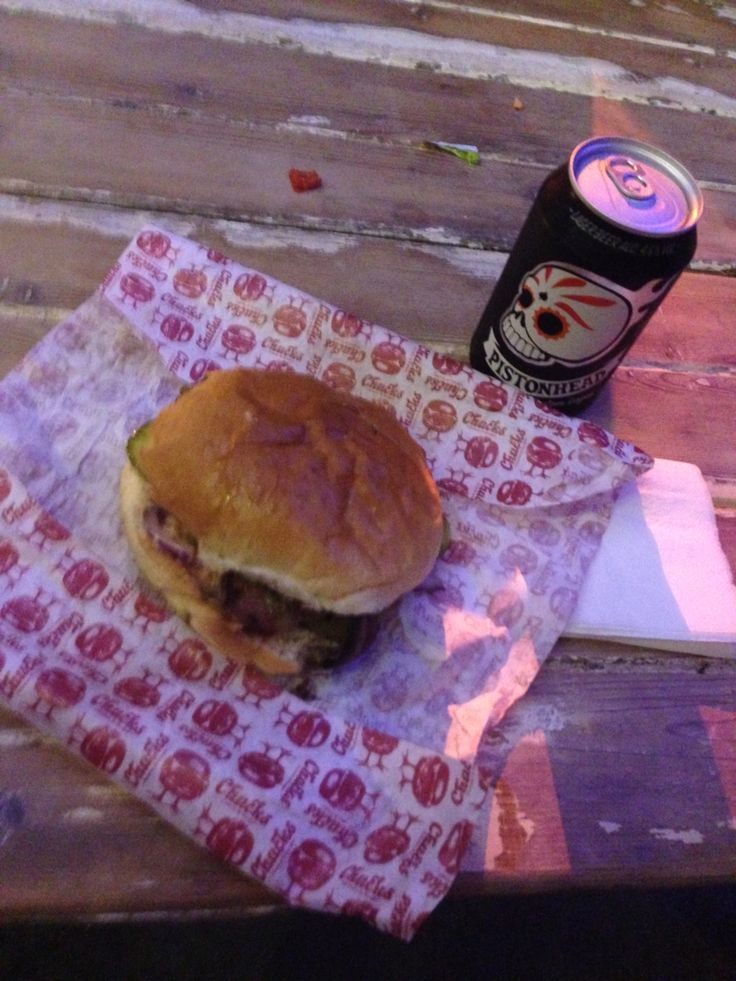 Chucks' Bacon & Cheeseburger washed down with a can of Pistonhead lager