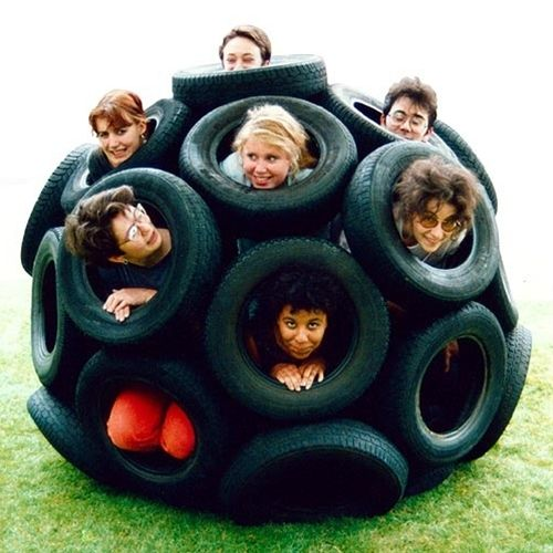 32 car tires bolted together to form an amazing outside toy for the kids (and pets). Part of Nick Sayers Geodesic Spheres project.