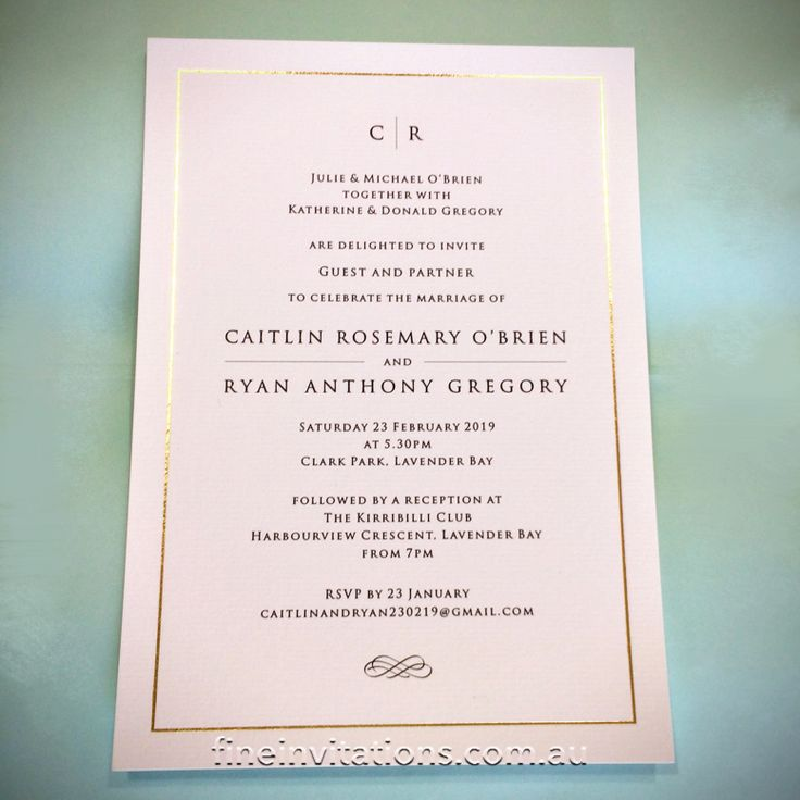 Want a stylish gold foiled wedding invitation? We have cards with pre-foiled borders. The design inside is up to you, but we love a classic, simple and elegant look! #fineinvitations #sydneywedding #weddinginvitationssydney