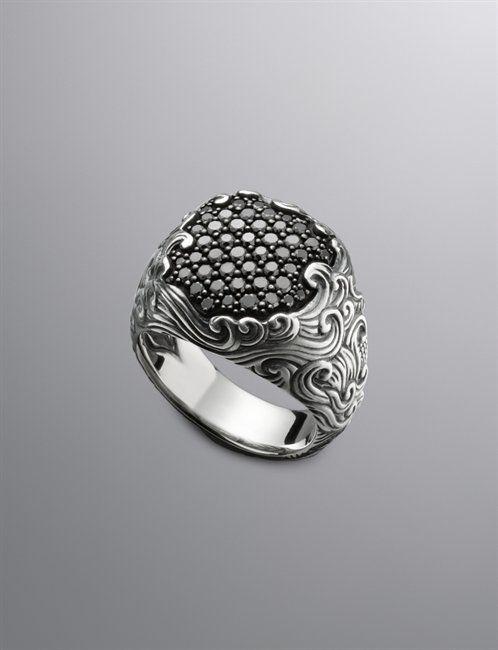 David Yurman | Men | Rings: Waves Ring, Pave Black Diamond
