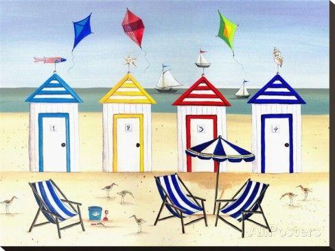 Casas de Praia Impressão em tela esticada