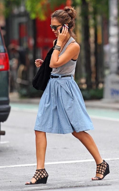 Jessica Alba in Denim Skirt