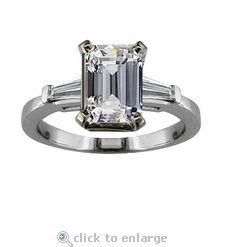 Ziamond Cubic Zirconia Engagement Solitaire Wedding Ring White Gold.  Inspired by the Sex and The City for Charlotte carat emerald step cut  center, ...