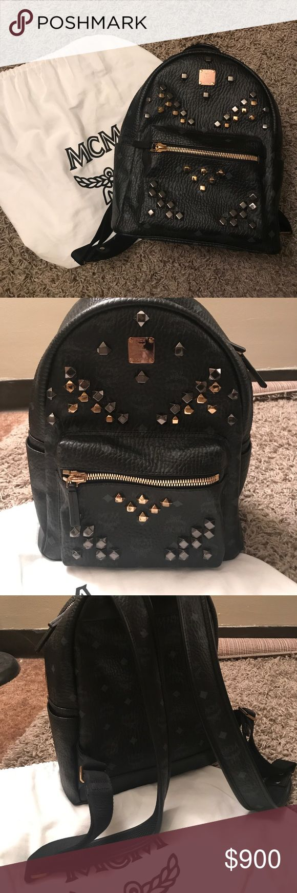 Authntic New MCM stud backpack (BLACK) This is a new MCM small size backpack. This bag has been worn less than 5 times. Not scratch at all. Comes with dust bag and authentication card. I can negotiate price if pay using 🅿️🅿️ MCM Bags Backpacks