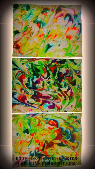 De tout et de rien: Activités pour le Préscolaire: Papier marbré avec de la mousse à raser et différentes couleurs