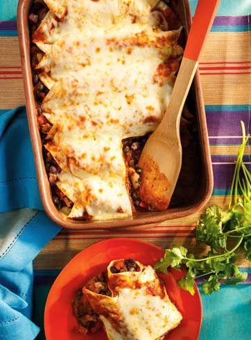 Enchiladas au poulet et aux haricots noirs