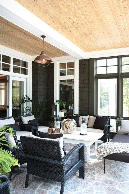 Great social porch with wood ceiling to add a fresh pop.