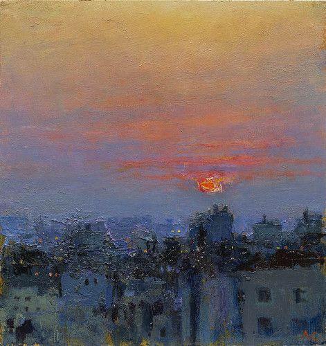 Ramallah Evening 9 Oil on panel 8¾ x 8¼ ins (22.02 x 20.96 cms)