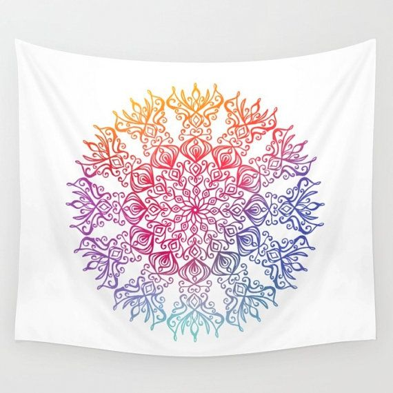 Boho Wall Tapestry. Colourful Mandala. by FromFloraWithLove