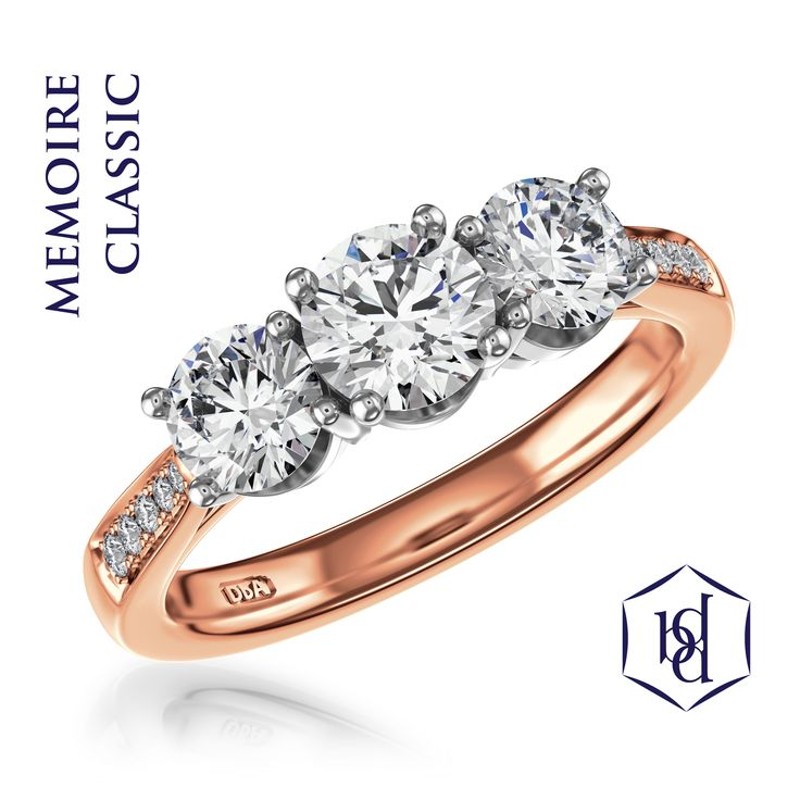Rose Gold Engagement Rings- a 'passion' set 3 stone rose gold and platinum engagement ring Visit www.diamondbyappointment.com for your local stockist