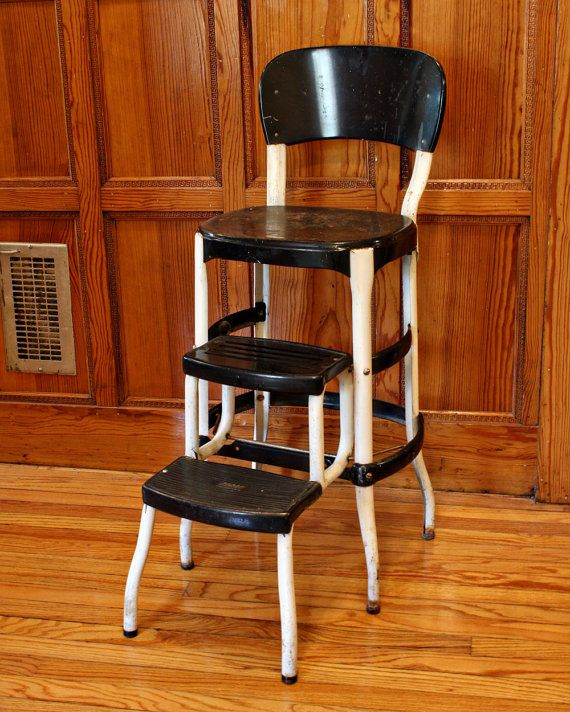 Vintage stool - step stool - kitchen stool - Cosco - chair - pull-out steps - black - metal - white & Best 25+ Vintage stool ideas on Pinterest | Cheap footstools ... islam-shia.org