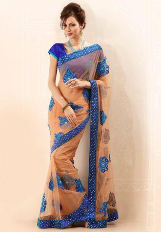 Peach Net  #Saree with Blouse